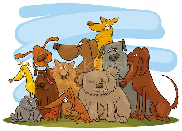 Csoport kutyák rajz illusztráció vicces kutya Stock fotó © izakowski