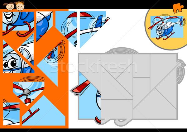 Cartoon hélicoptère jeu illustration éducation Photo stock © izakowski