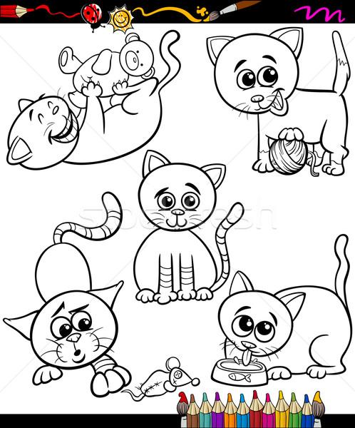 Pisici Set Desen Animat Carte De Colorat