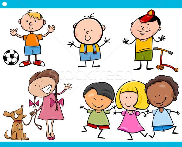 Sevimli küçük çocuklar karikatür ayarlamak örnek Stok fotoğraf © izakowski