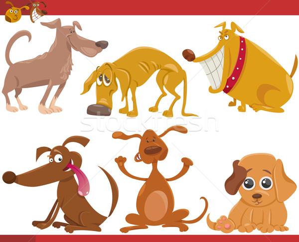 happy dogs cartoon illustration set Stock photo © izakowski