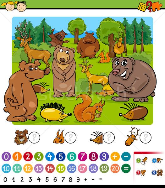 Animais desenho animado jogo ilustração educação matemático Foto stock © izakowski