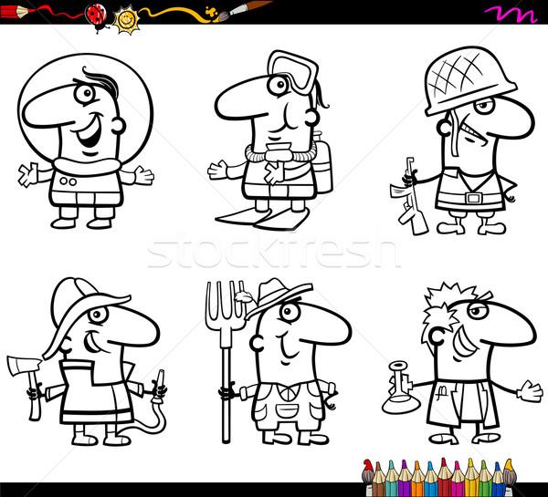 Insanlar Sayfa Boyama Kitabı Karikatür örnek Profesyonel