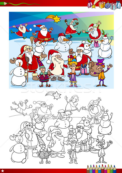 christmas group coloring page Stock photo © izakowski