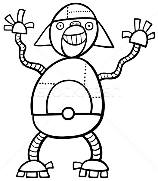 Maymun robot sayfa siyah beyaz karikatür örnek Stok fotoğraf © izakowski