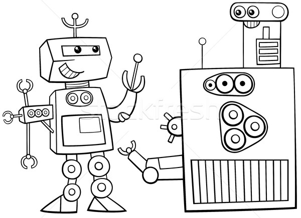 robots character coloring page Stock photo © izakowski