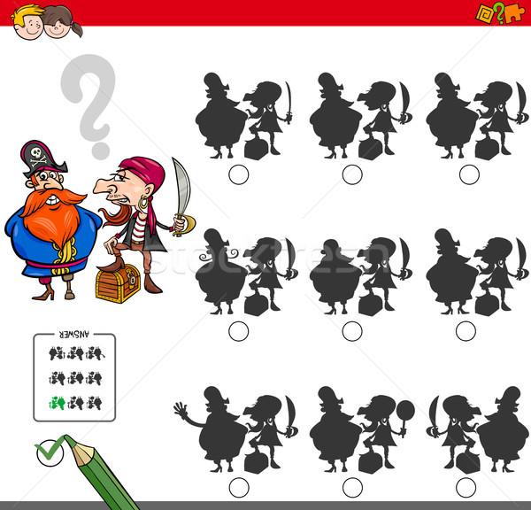Educativo ombra gioco attività pirati cartoon Foto d'archivio © izakowski