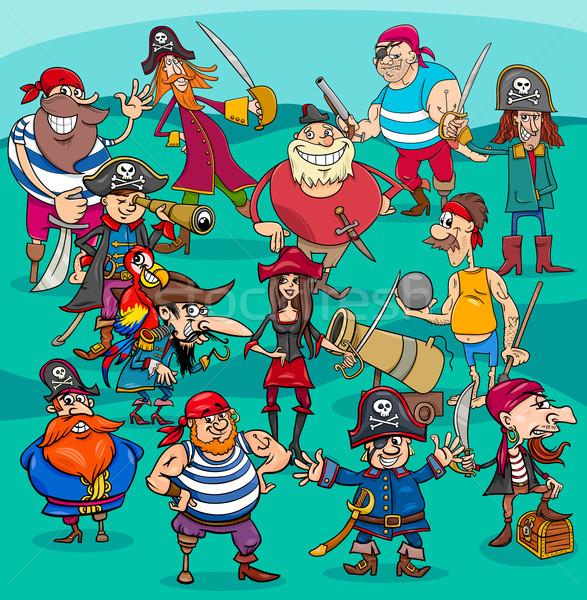 cartoon pirate characters group Stock photo © izakowski