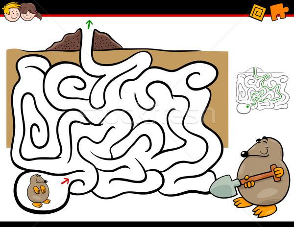 Doolhof activiteit mol dier cartoon illustratie Stockfoto © izakowski