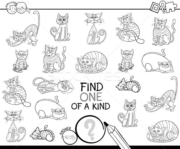 find one of a kind game with cats coloring book Stock photo © izakowski