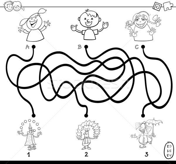 paths maze with clowns coloring book Stock photo © izakowski