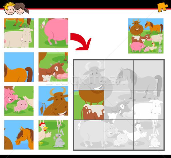 jigsaw puzzles with funny farm animals Stock photo © izakowski