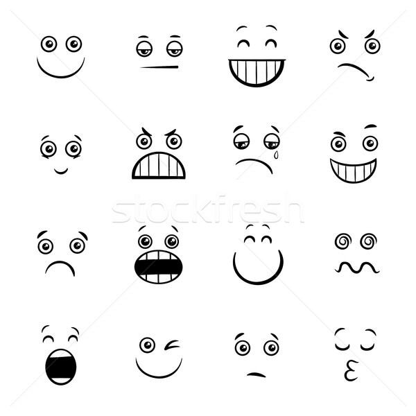cartoon emoticons or facial emotions collection Stock photo © izakowski