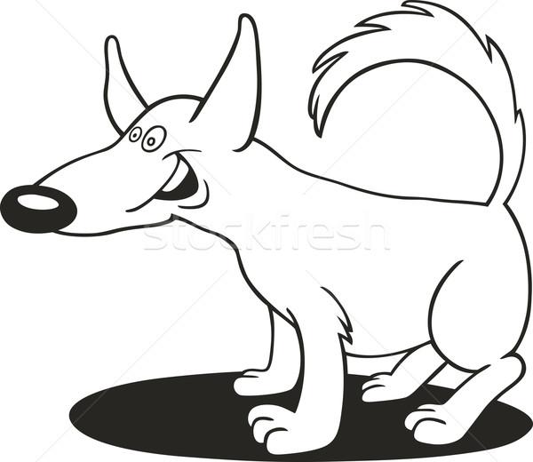 Сток-фото: смешные · собака · книжка-раскраска · иллюстрация · улыбка · трава