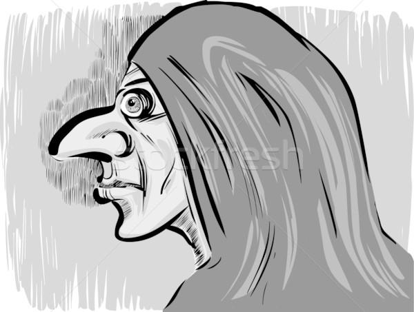 таинственный монах эскиз карикатура иллюстрация средневековых Сток-фото © izakowski