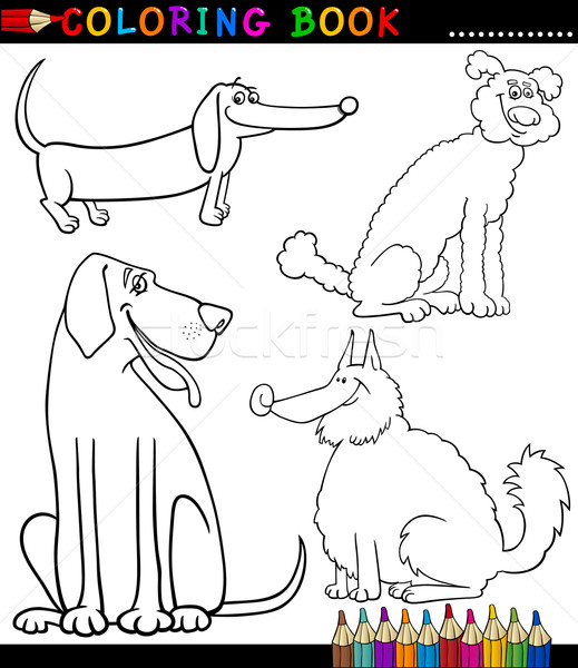 Cartoon Dogs or Puppies Coloring Page Stock photo © izakowski