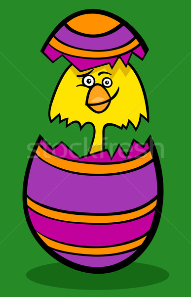 Kip easter egg cartoon illustratie grappig weinig Stockfoto © izakowski
