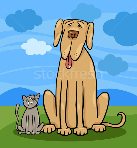 small cat and big dog cartoon illustration Stock photo © izakowski