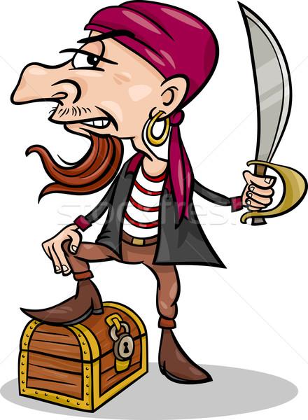 pirate with treasure cartoon illustration Stock photo © izakowski
