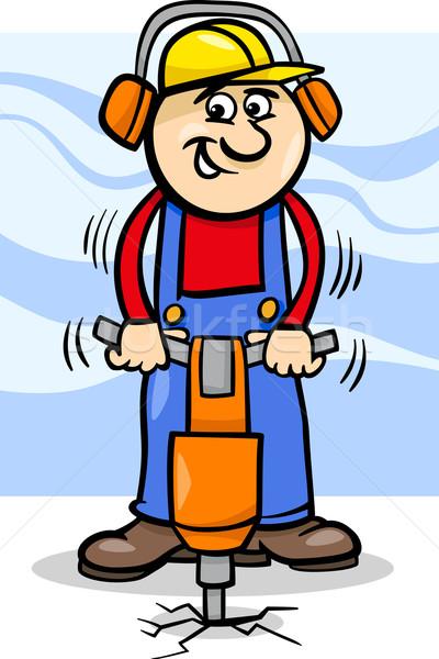 worker with pneumatic hammer cartoon Stock photo © izakowski