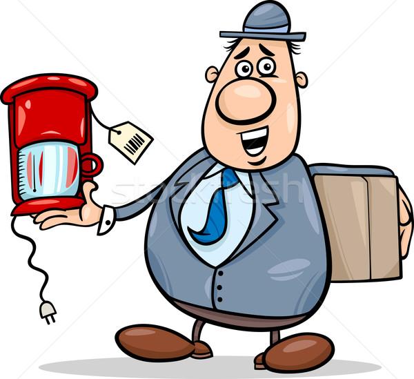 salesman with coffee maker cartoon Stock photo © izakowski