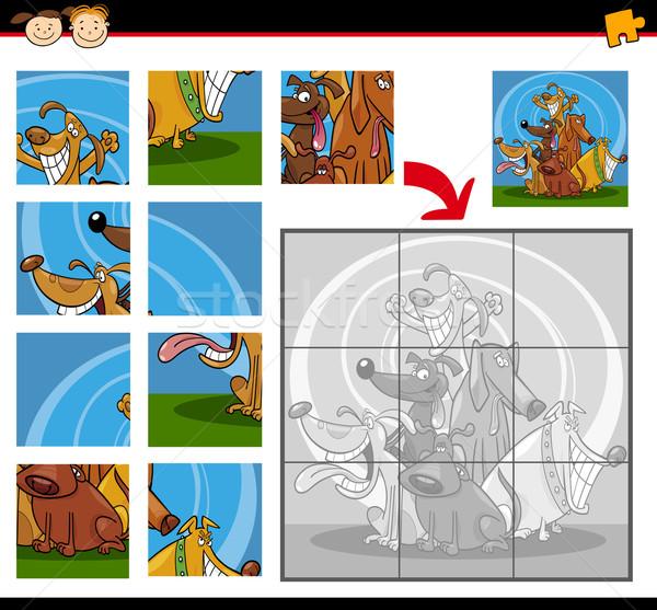 Cartoon chiens jeu illustration éducation Photo stock © izakowski