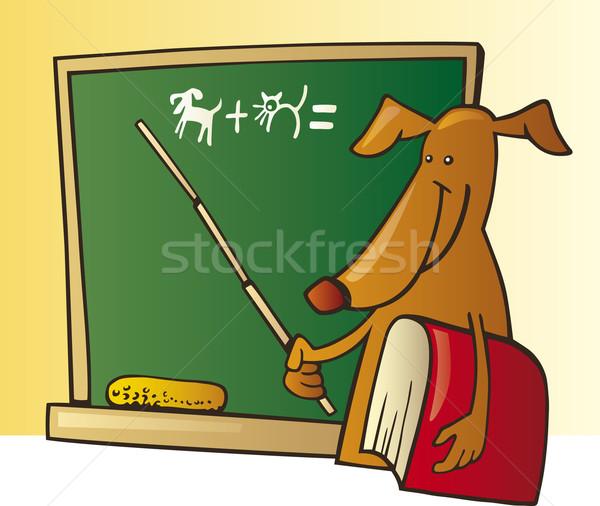 Stock fotó: Kutya · tanár · illusztráció · iskolatábla · vicces