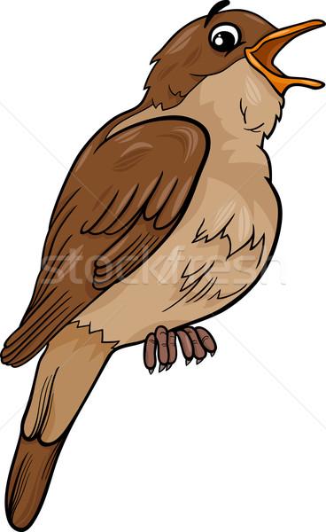 nightingale bird cartoon illustration Stock photo © izakowski