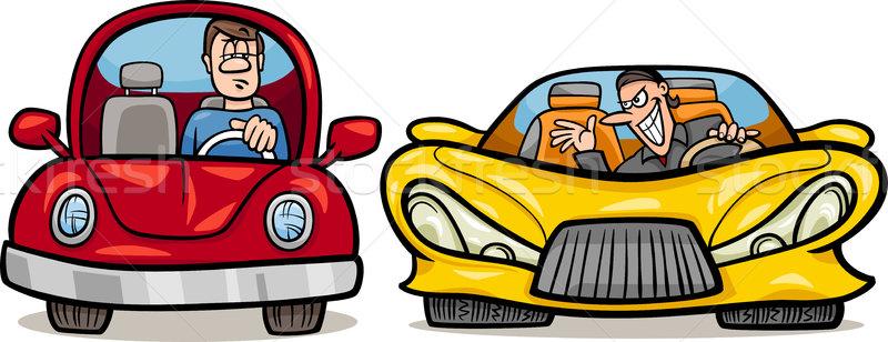 Kötü niyetli sürücü karikatür örnek adam Retro Stok fotoğraf © izakowski