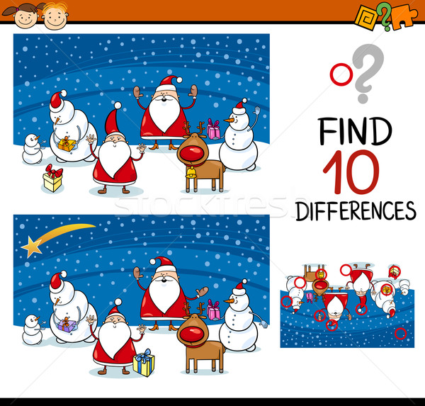 christmas differences game for kids Stock photo © izakowski