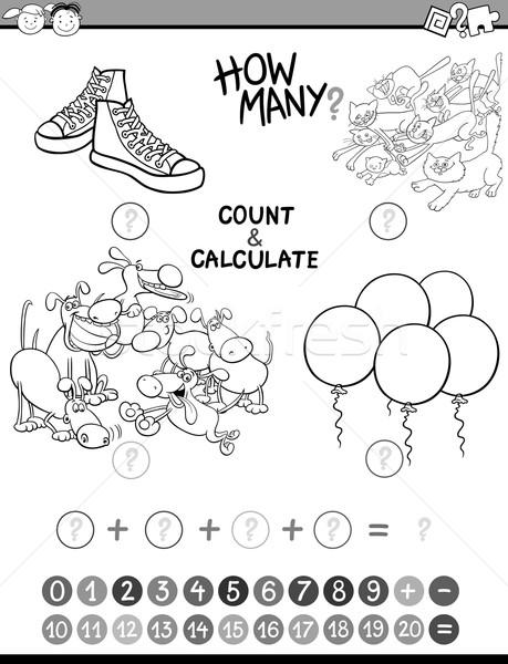 Matemáticas ninos libro para colorear blanco negro Cartoon ilustración Foto stock © izakowski