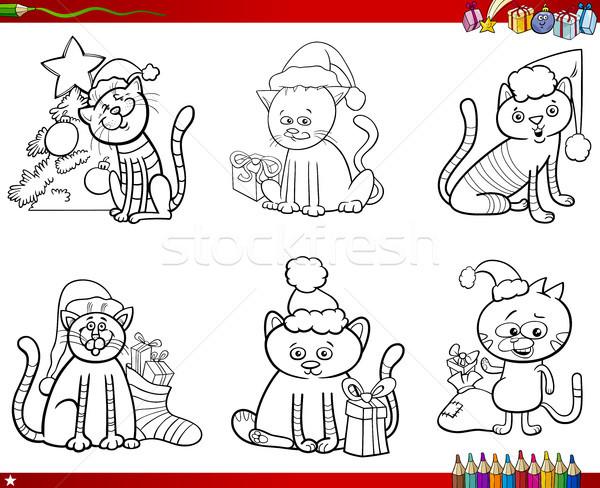 Gatti Natale Set Libro Da Colorare Cartoon