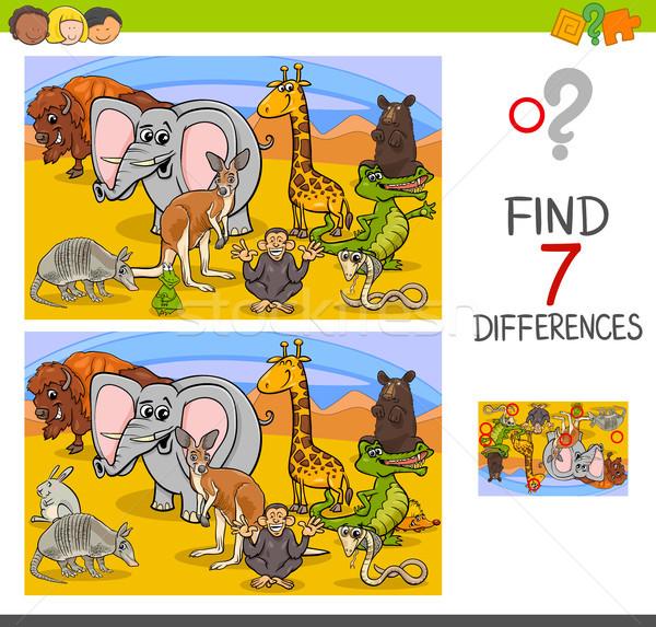 Recherche différences jeu animaux sauvages cartoon illustration Photo stock © izakowski