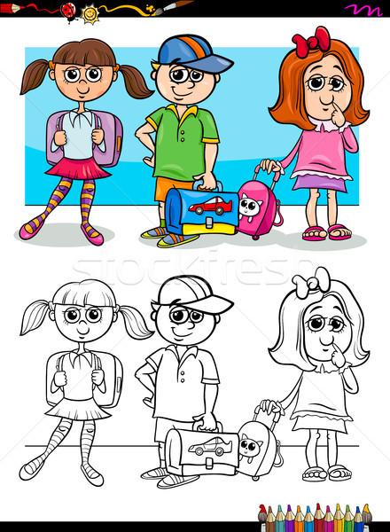 Kinder Zeichen Ausmalbuch Karikatur Illustration Grundschule Stock foto © izakowski