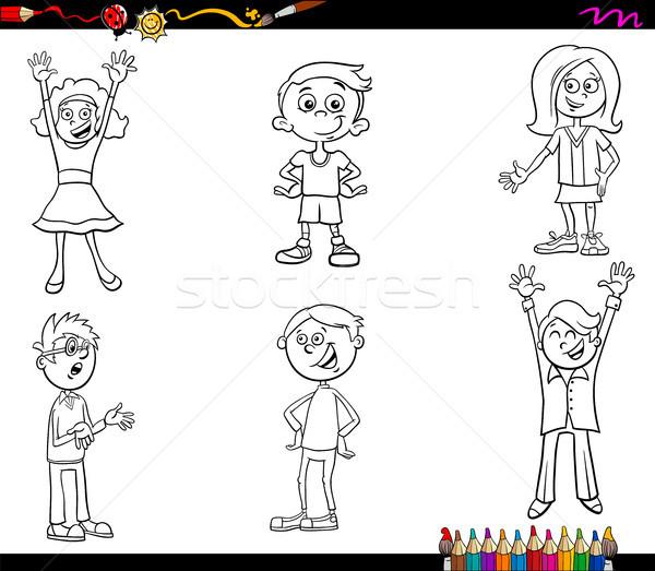 Сток-фото: Cartoon · детей · книжка-раскраска · черно · белые · иллюстрация