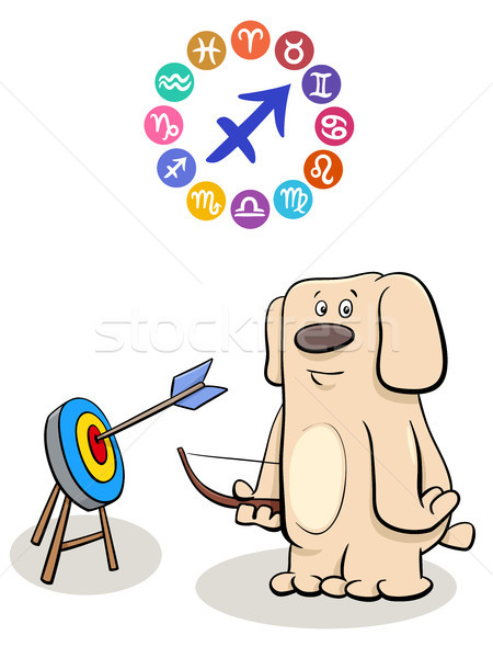 Sagittarius Zodiac sign with cartoon dog Stock photo © izakowski