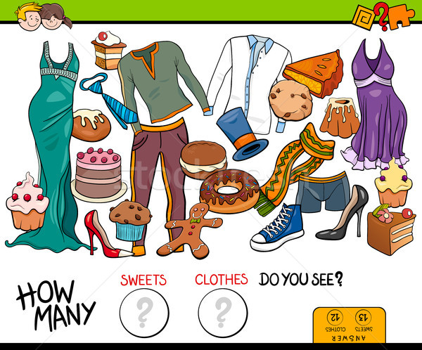 counting sweets and clothes educational game Stock photo © izakowski