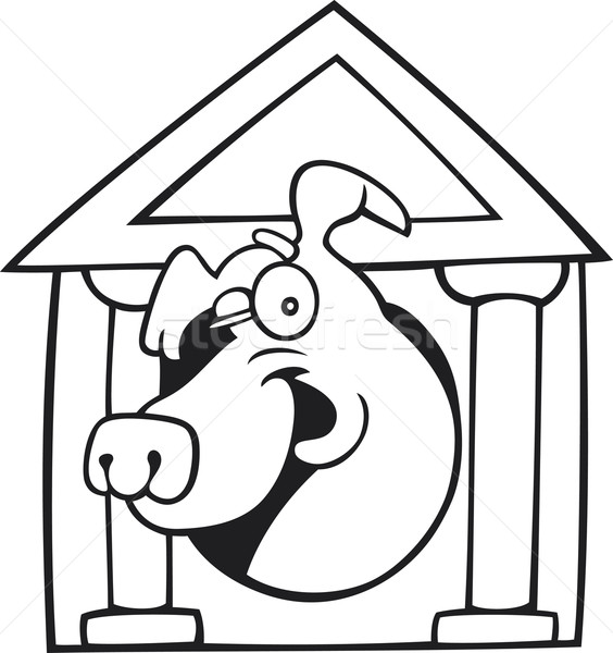 Dog in kennel for coloring book Stock photo © izakowski