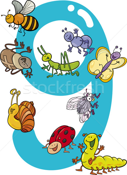 number nine and 9 insects Stock photo © izakowski