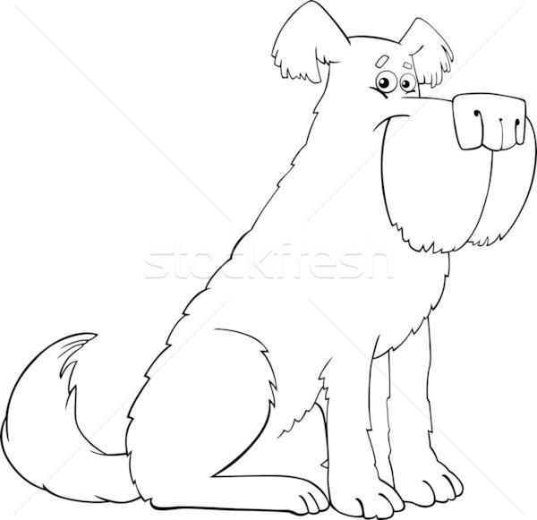 shaggy dog cartoon for coloring book Stock photo © izakowski