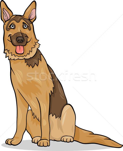 пастух собака Cartoon иллюстрация смешные чистокровных собак Сток-фото © izakowski