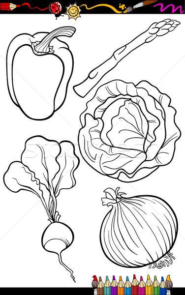 Karikatür Sebze Ayarlamak Boyama Kitabı Sayfa örnek