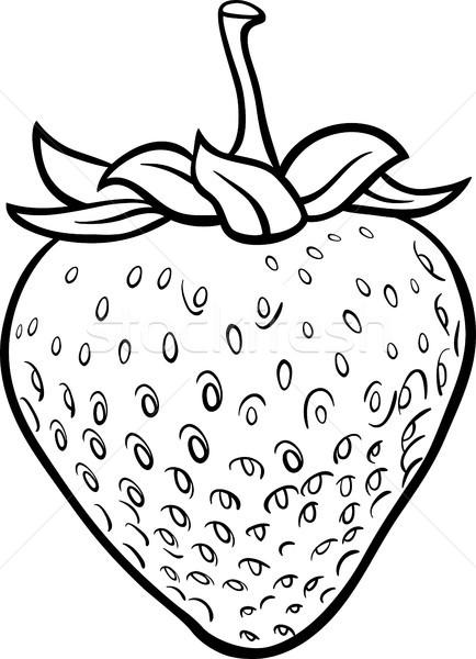 çilek örnek Boyama Kitabı Siyah Beyaz Karikatür Meyve