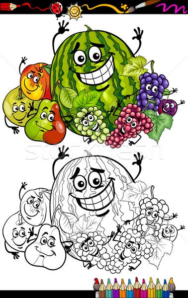 Karikatür Meyve Grup Boyama Kitabı Sayfa örnek