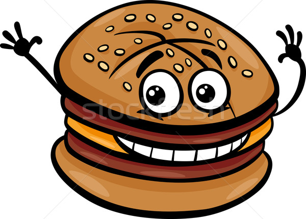 Cheeseburger cartoon illustrazione hamburger fast food Foto d'archivio © izakowski