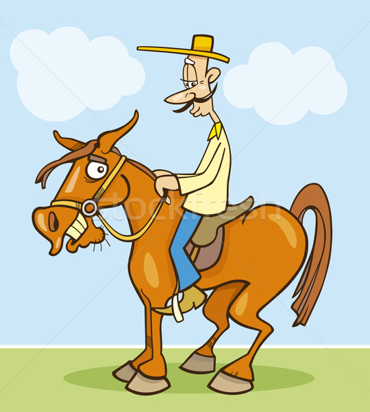 Funny horseman Stock photo © izakowski