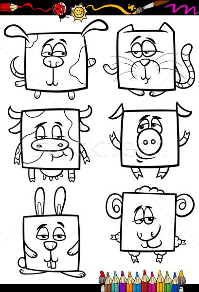 cute animals cartoon coloring book Stock photo © izakowski
