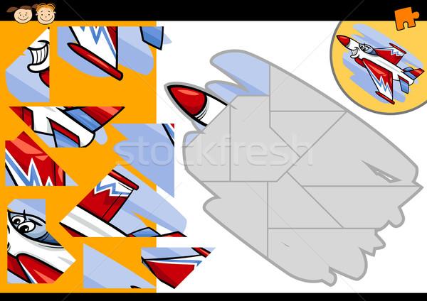 cartoon jet jigsaw puzzle game Stock photo © izakowski