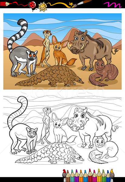 african mammals cartoon coloring book Stock photo © izakowski