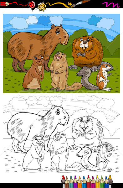 rodents animals cartoon coloring book Stock photo © izakowski